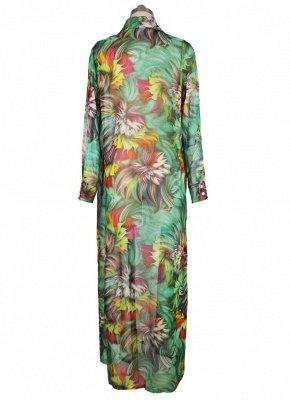 Women Chiffon Sexy Bikini Cover Up Floral Print Bohemia Cardigan Kimono Loose Outerwear Beachwear Green/Blue_6
