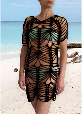 Women Crochet Sexy Bikini Cover Up Hollow Out Knitted  Swimsuit Beachwear_5