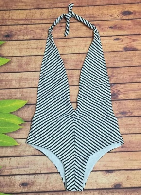 Striped Print Plunging V Neck Halter Monokini_3