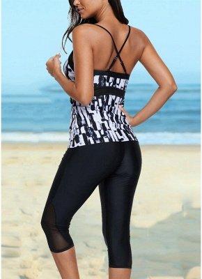 Vintage Women Tankini Capris Deep V Printed Cross Over Backless Swimsuit_4