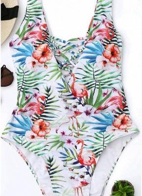 Women Plus Size One-Piece  Lace-Up Backless Wireless Swimsuits Beach Wear_6