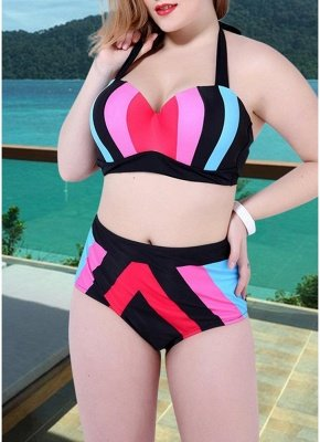 Women Plus Size Swimsuit Two Pieces Color Block Halter Underwire Bathing_1