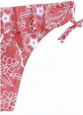 Women Sexy Bikini Set Ruffled Floral Print Bandage  Swimsuit Swimwear_4