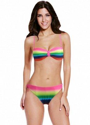 Gradient Rainbow Print Underwire 3/4 Cup Women's Sexy Bikini_1