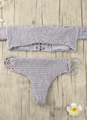 Women Smocked Off the Shoulder Lace Up Sexy Bikini Set_2