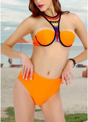 Halter Backless Bandage Padded Underwire Swimsuit_3
