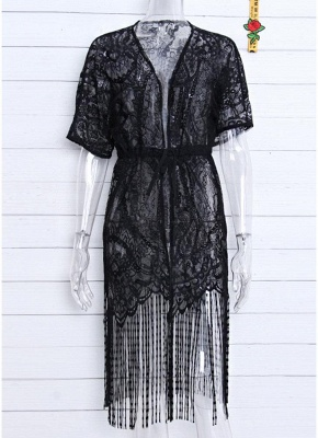 Women Swimsuit Lace Cover Up Tassel Bandage Holiday Beach Wear Swimwear Overall?_4
