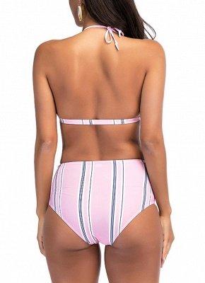 Women Stripe High Waist Sexy Bikini Set Halter Padded Bandage Swimsuit Swimwear Bathing Suit_3