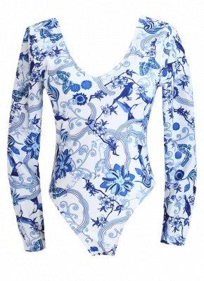 Women Vintage Porcelain Floral Print One Piece Swimsuit_5