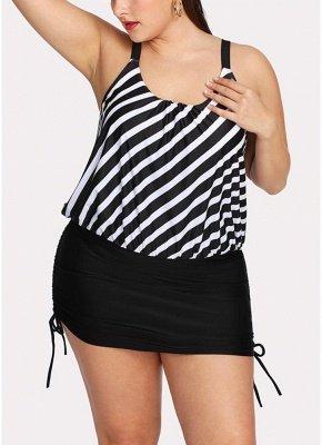 Women Striped Swim Dress Tie Side_1