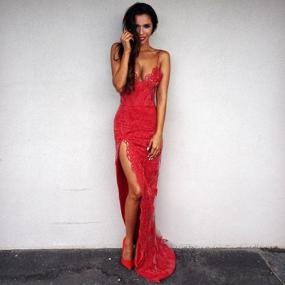Elegant Red Lace Tight Prom Dress UK Front Split Floor Length_4
