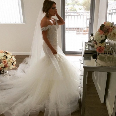 Elegant Off-the-Shoulder Sexy Mermaid Wedding Dress | Tulle Bridal Gowns_5