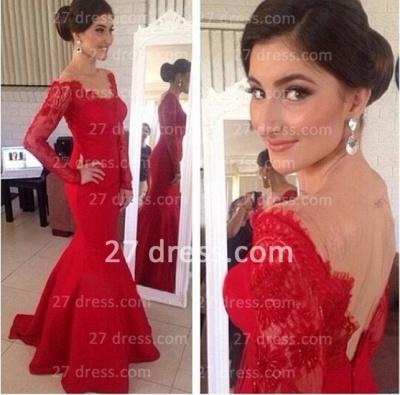 Red Long Sleeves Prom Gowns Mermaid Long Sleeve_2
