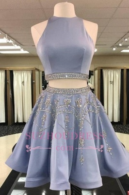 Short Crystal Two-Pieces A-line Sleeveless Luxury Homecoming Dress UK_1