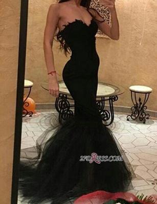 Tulle Simple Mermaid Black Sweetheart Prom Dress UK_2