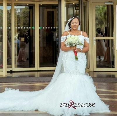 Plus-Size Lace Cap-Sleeve Appliques Sexy Mermaid Gorgeous Wedding Dress_3