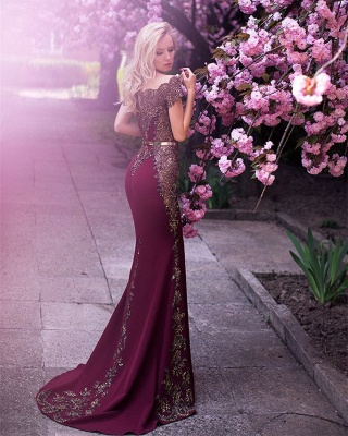 Gorgeous Off-the-Shoulder Evening Dress UK Lace Mermaid Party Gowns On Sale_3