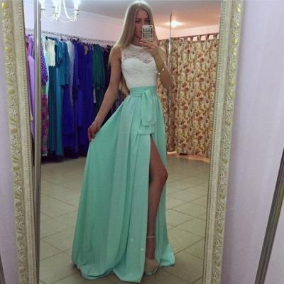 Sexy Lace Chiffon A-line Prom Dress UK Front Split Illusion_3