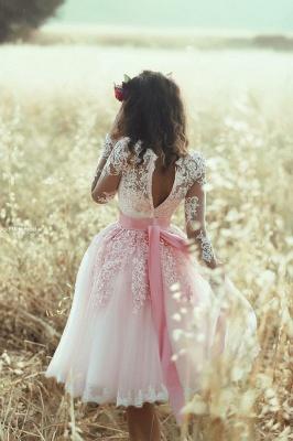 Newest Lace Appliques Long Sleeve Homecoming Dress UK Mini A-line_4