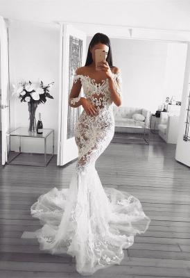 Elegant Long Sleeve Wedding Dress   2019 Sexy Mermaid Lace Bridal Gowns_1