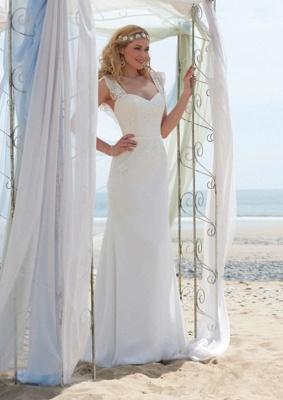 Romantic Cap Sleeve White Wedding Dress Zipper Button Back_1