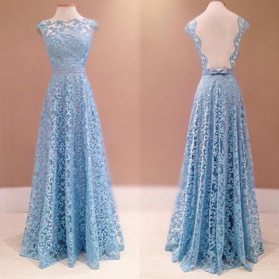 Luxury Blue Lace Evening Dress UK Sleeveless Floor Length_2