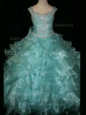Formal Cheap Pageant Dresses for Girls with Beauty Customized Beaded Flower Girls Gowns for Sale_5