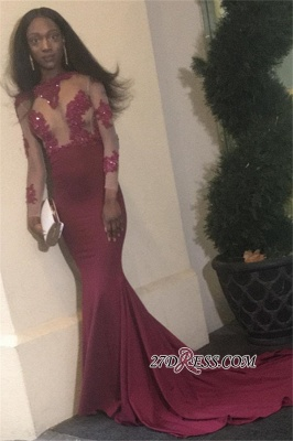 Burgundy prom Dress UK, lace evening gowns BK0_2
