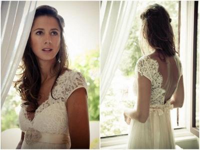Gorgeous Lace Long  Wedding Dress Cap Sleeve_4