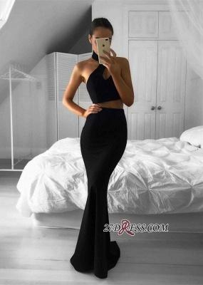 Mermaid Black Two-Piece Halter Newest Sleeveless Prom Dress UK BA7157_2