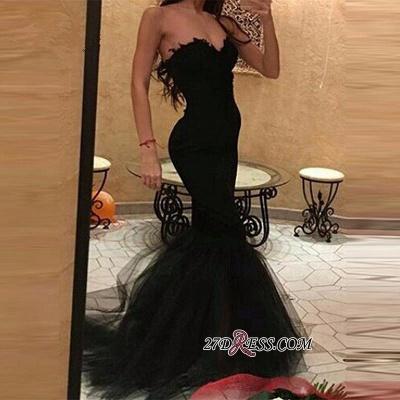 Tulle Simple Mermaid Black Sweetheart Prom Dress UK_1