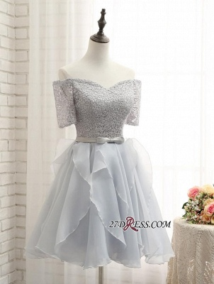 Short A-Line Lace Off-the-Shoulder Bowknot Sexy Homecoming Dress UK_3