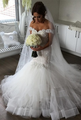 Elegant Off-the-Shoulder Sexy Mermaid Wedding Dress | Tulle Bridal Gowns_1