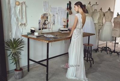 Long Elegant Cap-Sleeve Lace Crystal Lace Wedding Dress_3