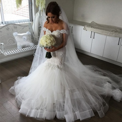 Elegant Off-the-Shoulder Sexy Mermaid Wedding Dress | Tulle Bridal Gowns_3