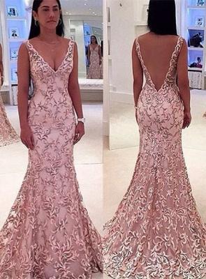 Elegant V-Neck Sleeveless Evening Dress UK Lace Mermaid Floor Length_1
