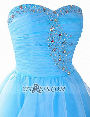 Pretty Semi-sweetheart Sleeveless Short Homecoming Dress UK Lace-up Crystals Organza Cocktail Gown_4