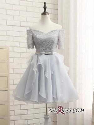 Short A-Line Lace Off-the-Shoulder Bowknot Sexy Homecoming Dress UK_4