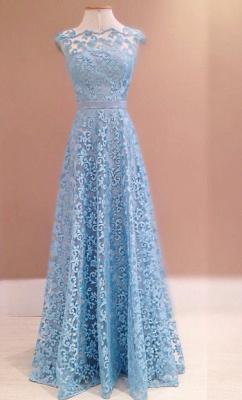 Luxury Blue Lace Evening Dress UK Sleeveless Floor Length_1