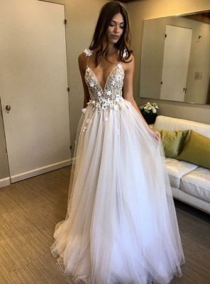 V-Neck A-line Appliques Evening Gowns | Sleeveless Prom Dress UK_1