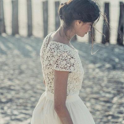 Newest White Lace A-line Wedding Dress Cap Sleeve Tea Length Jewel_3