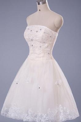Gorgeous Strapless Sleeveless Short Homecoming Dress UK With Beadings Lace_3