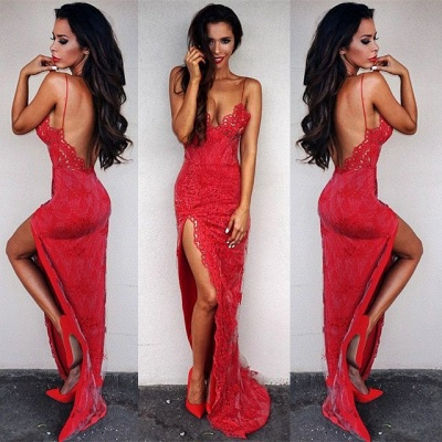 Elegant Red Lace Tight Prom Dress UK Front Split Floor Length_6
