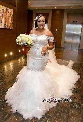 Plus-Size Lace Cap-Sleeve Appliques Sexy Mermaid Gorgeous Wedding Dress_4