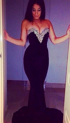 Elegant Sweetheart Sleeveless Mermaid Prom Dress UK With Beadings_1