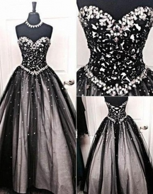 Crystal A-Line Lace-up Tulle Black Sexy Sweetheart Prom Dress UK_2