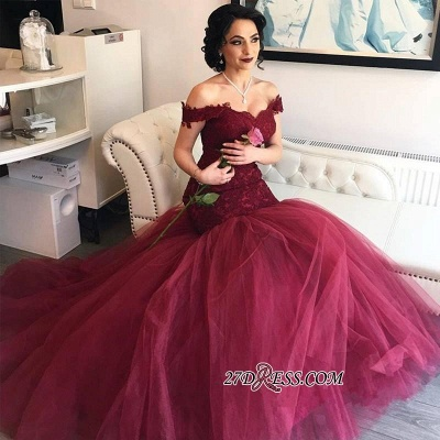 Burgundy Off-the-Shoulder Tulle Lace Mermaid Newest Prom Dress UKes UK BA4286_1
