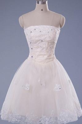 Gorgeous Strapless Sleeveless Short Homecoming Dress UK With Beadings Lace_1