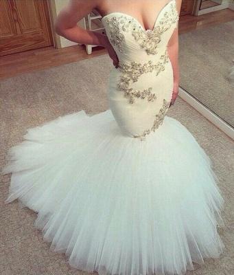 New Fashion Sweetheart Sexy Mermaid Wedding Dress Tulle Beaded_1