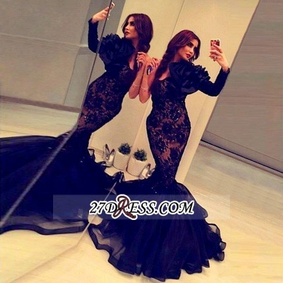 Elegant Black Long Sleeve Mermaid Prom Dress UK Lace Appliques Beadings BA2189_2